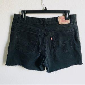 Levi's 550 stretch black frayed shorts size 12